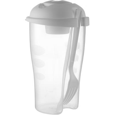 Image of Salad container with cup and fork