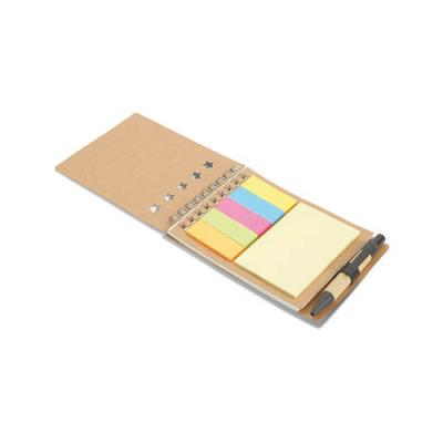 Image of Notebook with pen sticky notes
